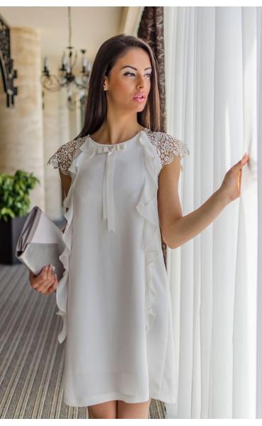Нежна бяла рокля с къдри Валъри_17851