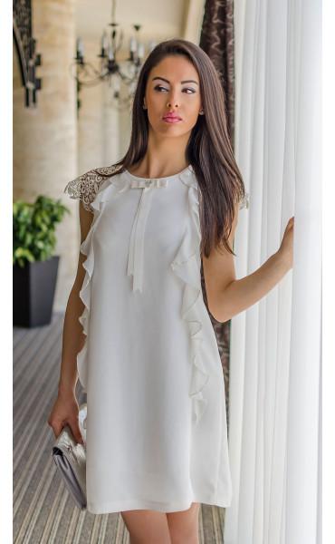Нежна бяла рокля с къдри Валъри_17852