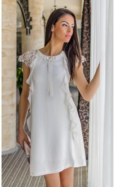Нежна бяла рокля с къдри Валъри_17853