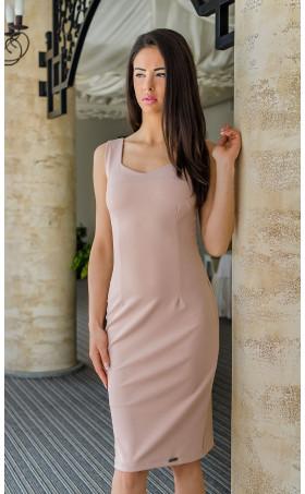 Официална вталена рокля в бонбонено розов цвят Лариса