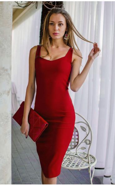 Изкусителна рокля в огнено червен цвят с презрамки Лариса