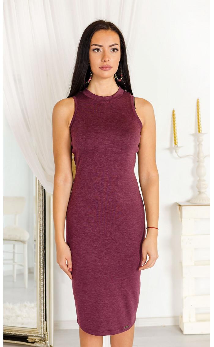Ежедневна рокля в цвят бордо със средна дължина