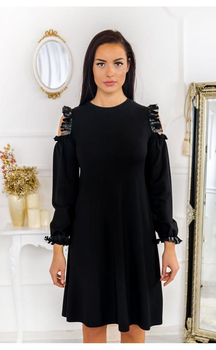 Разкроена ежедневна черна рокля с атрактивна горна част Кейти