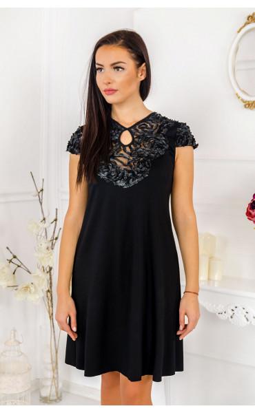 Официална разкроена рокля с кожена дантела Ким