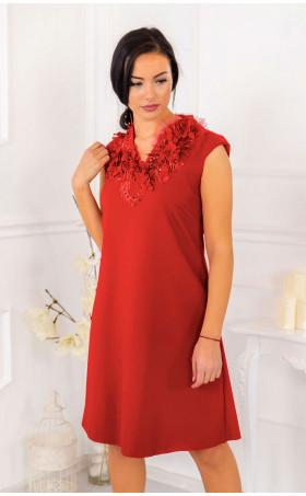 Вечерна разкроена рокля в червено с 3D орнаменти Lady in Red