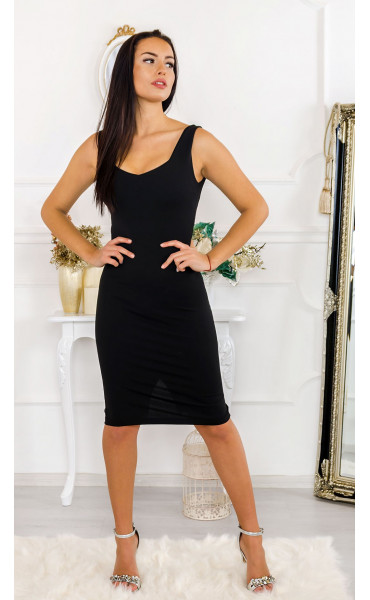 Черна спортно-елегантна рокля Сюзън