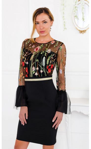 Официална рокля с флорално бродирана мрежа Secret Garden