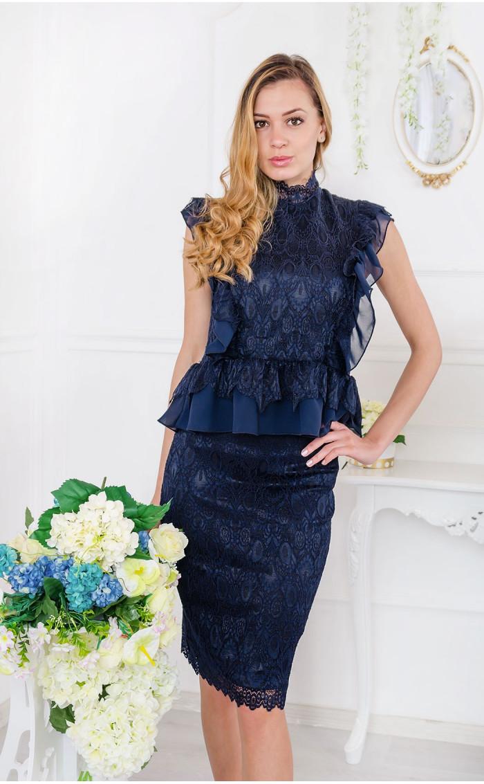 Луксозен комплект от тъмно синя дантела