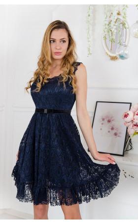 Официална дантелена рокля в цвят индиго