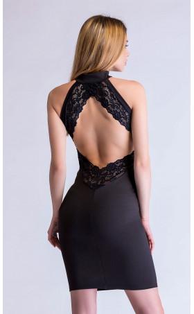 Черна вталена рокля с гол гръб Сузана