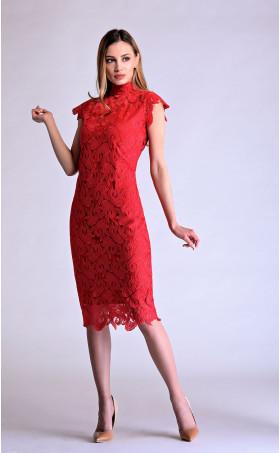 Червена официална дантелена вечерна рокля Глория