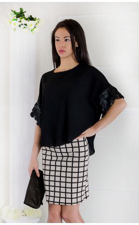 Ефирна блуза с кожени орнаменти Жанет