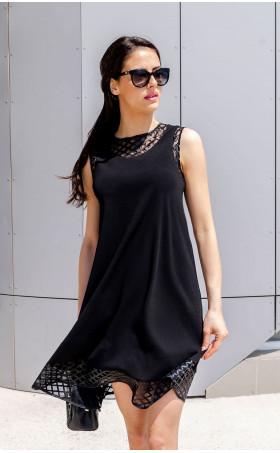 Свободна рокля с кожени акценти Geometric
