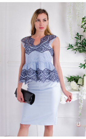 Дантелена блузка Blue Sense
