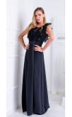 Дълга черна официална вечерна рокля Precioza