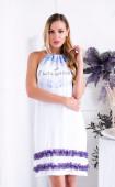 Лятна ефирна бяла рокля с лилави елементи Мелъни
