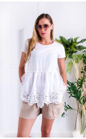 Бял разкроен памучен топ  Marbella