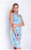 Лятна вталена рокля без ръкави Blue Ocean