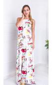 Дълга бяла ефирна лятна рокля Summer in Paris