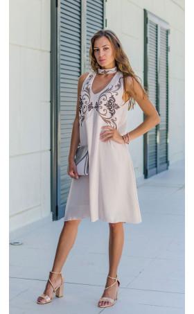 Свободна лятна рокля с пясъчен принт Lefkada Sands