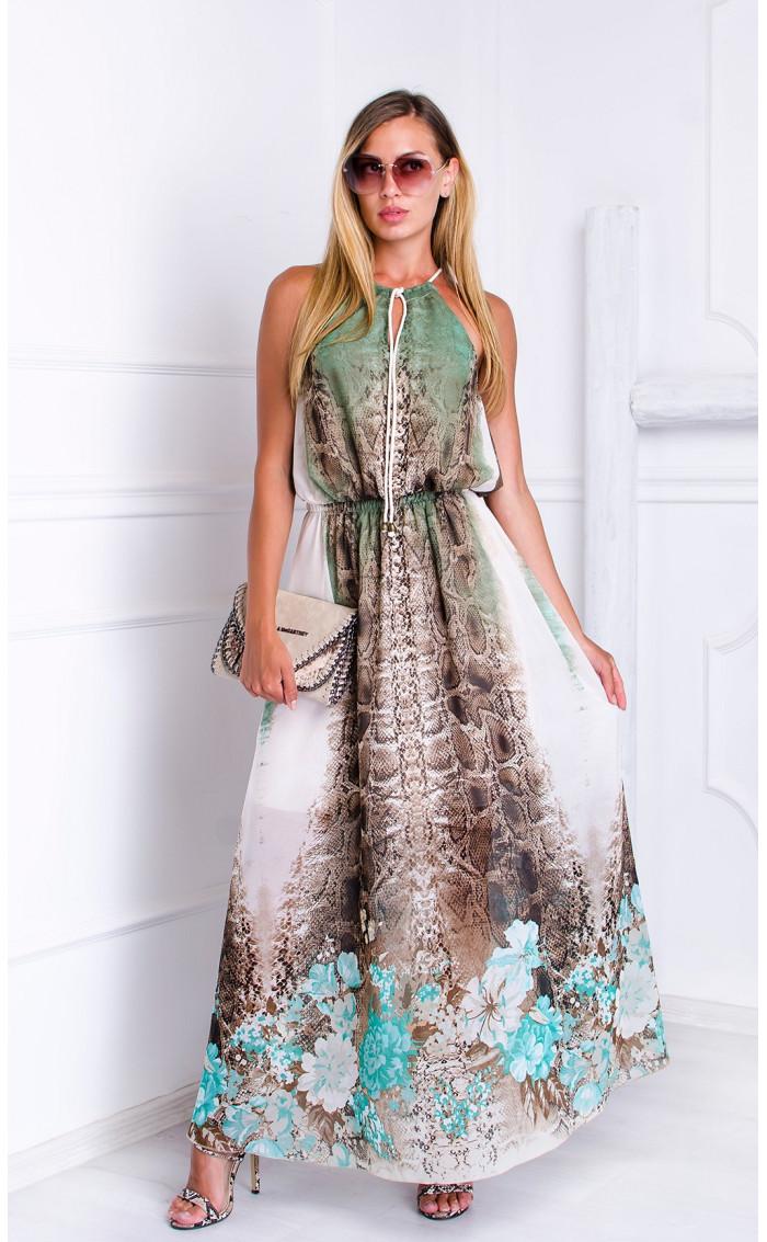 Елегантна рокля с актуален змийски мотив Snake skin