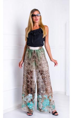 Свободен панталон с висока талия Snake skin