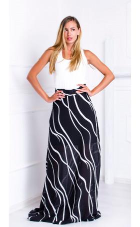 Дълга пола с висока талия Black and White