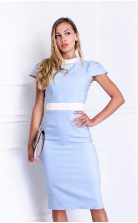 Делова елегантна рокля в небесно син цвят Морийн