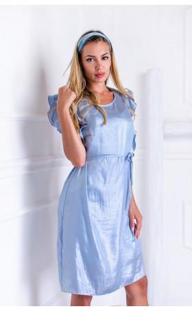 Небесно синя лятна рокля с перлен блясък