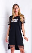 Black Casual Asymmetrical Short Mesh Sleeve midi Summer Dress