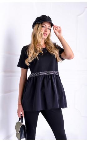 Черна блуза с ръкав и сребристи акценти STAR