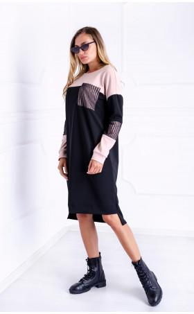 Асиметрична рокля с джоб и тюл