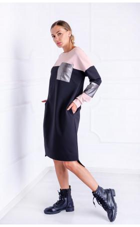 Асиметрична рокля с кожени акценти Silver accent