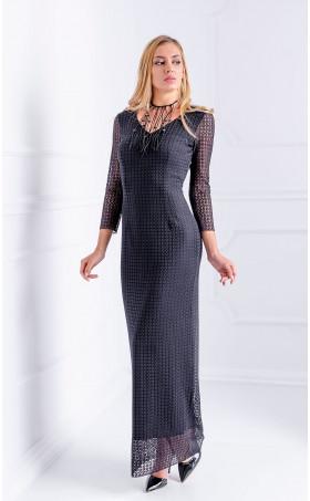 Дълга елегантна дантелена рокля Night Music