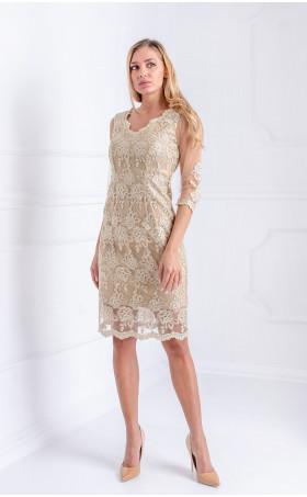 Златна дантелена рокля Golden Lace