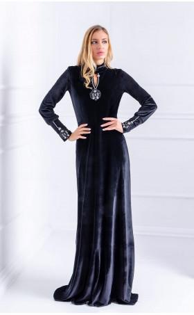 Дълга вечерна рокля от черно кадифе ONYX