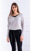 Блуза от плетиво с дантела Grey