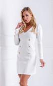Снежно бяла рокля със златисти копчета White Passion