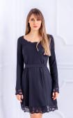 Черна елегантна рокля с дантела Romantic mood