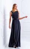 Официална дълга жоржетена рокля с пайетени елементи