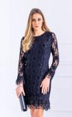 Черна официална дантелена вталена рокля Caroline