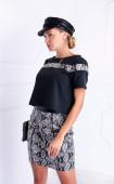 Black and White Short Snakeskin slim fit Casual mini Skirt
