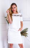 Кокетен комплект пола и блузка в млечно бял цвят