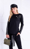 Black casual polyester regular fit long sleeve blouse