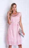 Нежна лятна рокля в млечно розов цвят и перлен блясък