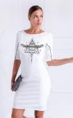 Бяла ежедневна рокля с принт Mystiq