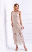 Елегантна вечерна рокля в бежово