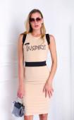 Бежова рокля в комбинация с черен колан Inspire