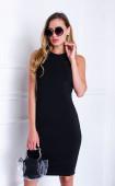 Черна лятна ежедневна рокля без ръкави Джаки