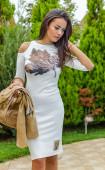 Ecru Elegant Slim fit Oval neck 3/4 Sleeve Cut Shoulders Spring Midi Dress